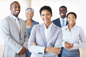 Business-lady-with-group-in-back